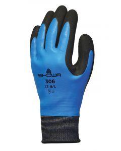 Showa 306 Dual Latex Grip Glove Blue / Black Size 7 Medium